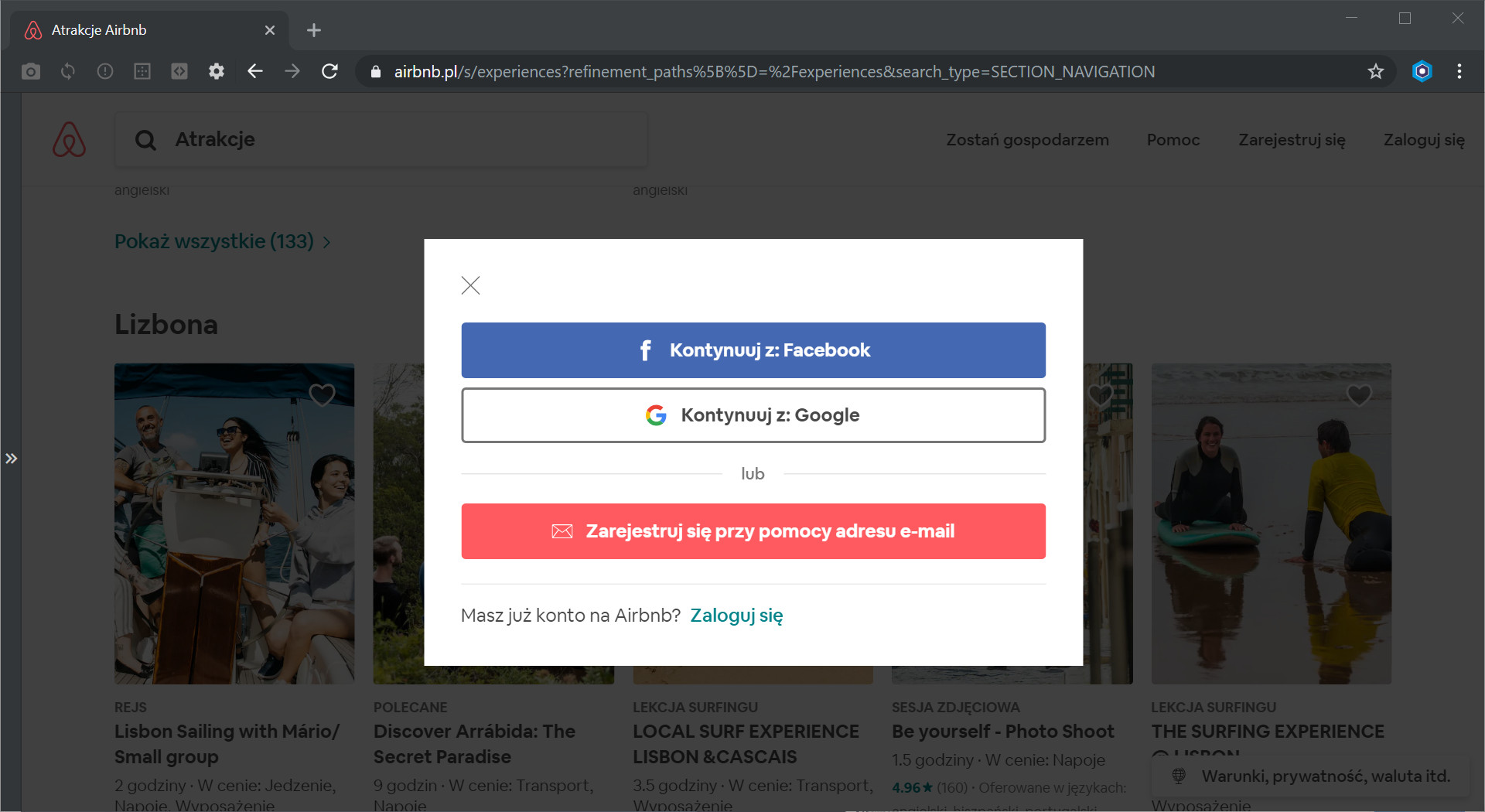 Rejestracja w Airbnb